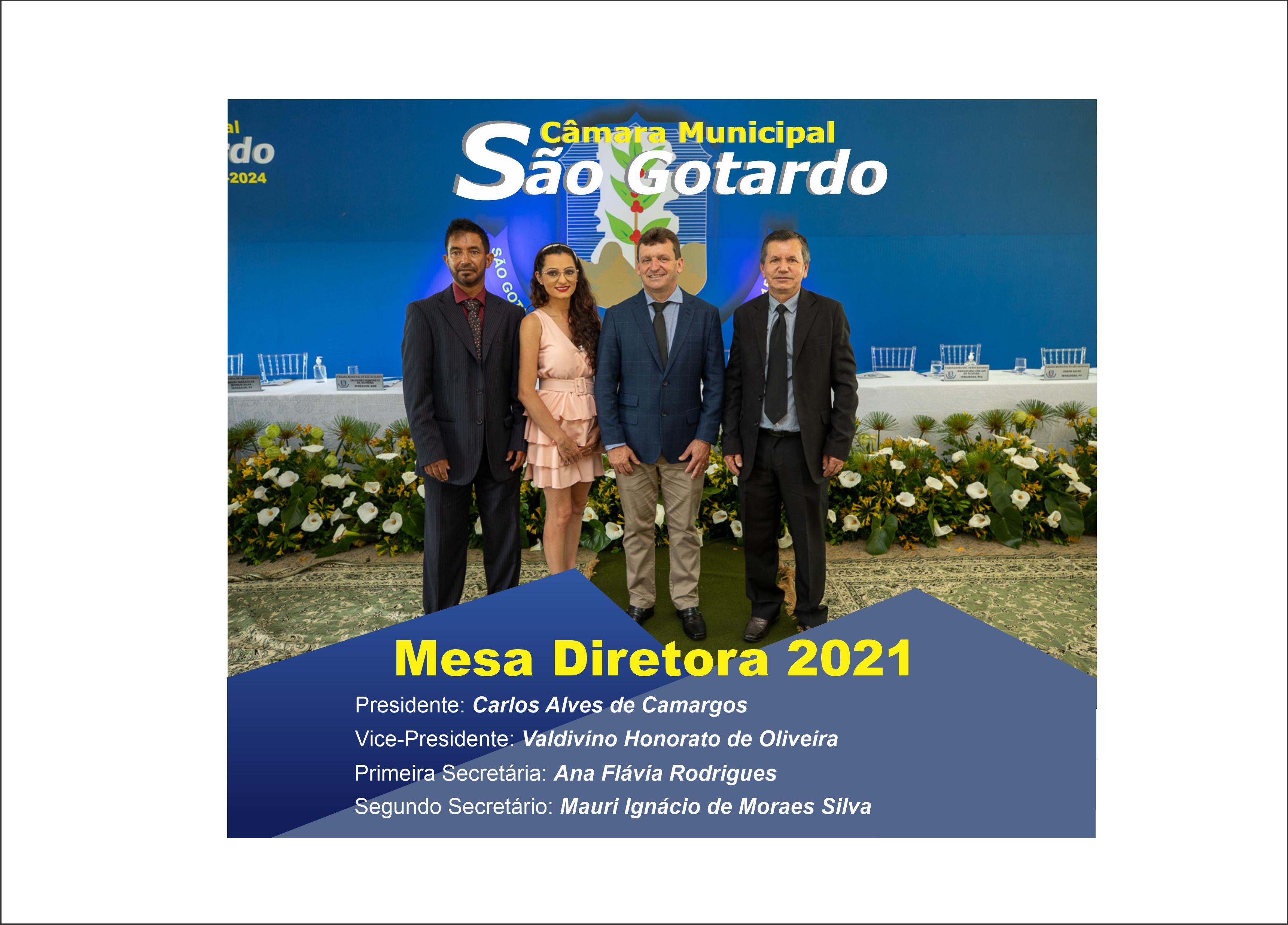 Mesa Diretora da Câmara Municipal de São Gotardo para o ano de 2021.